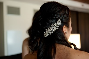Silver Floral Crystal Hair Comb