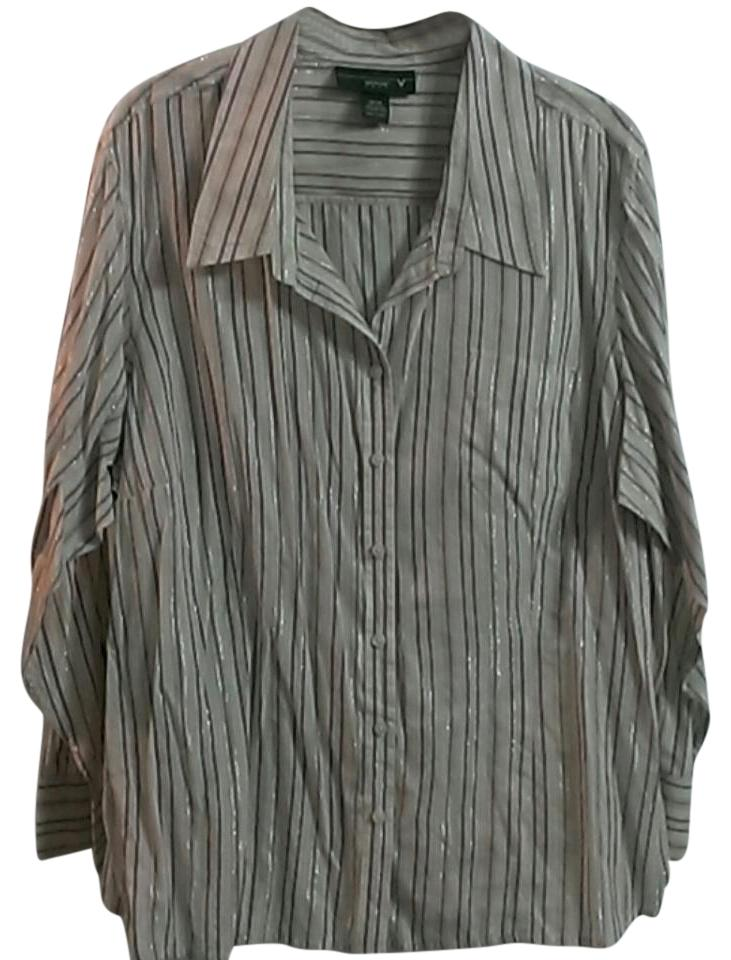 Venezia By Lane Bryant Beige With Purple Stripes Sheer Blouse Button