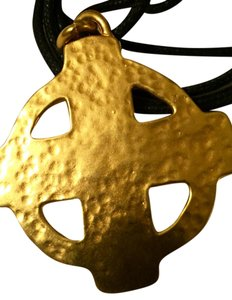 Robert Lee Morris signed vintage Robert Lee Morris 24K/brass forged disc cross pendant