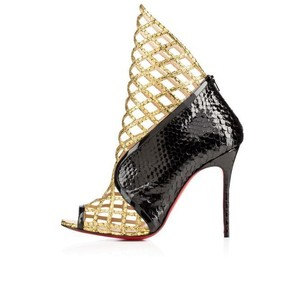 Christian Louboutin Python Water Snake Peep Toe Black and Gold Boots