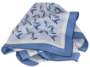 Gucci Gucci Women's 340124 Elinne Blue Sailboats Silk Twill Square Scarf