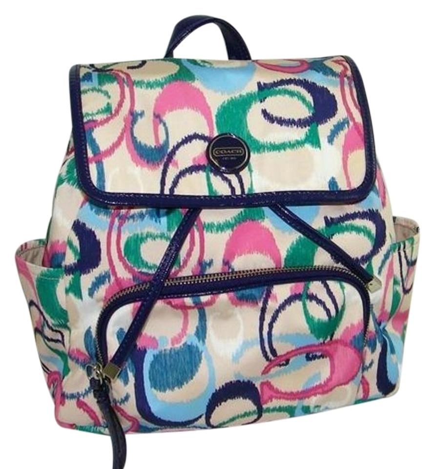 Coach Very Rare Ikat Print Multi Color Signature C Backpack