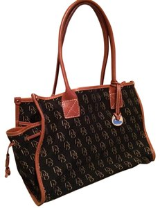Dooney & Bourke Classic Canvas Travel Tote in black saddle