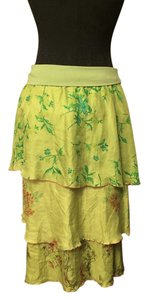 Johnny Was Silk Tiered Print Comfortable Maxi Skirt Green