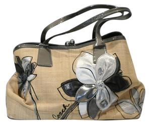 Coach Limited Edition Patent Satchel in Straw and Gray