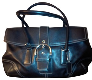 Coach Leather Signature Lining Satchel in Black