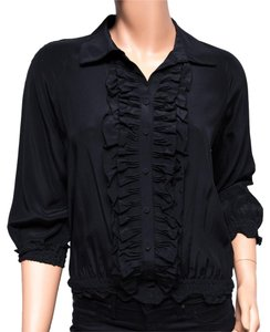 GERARD DAREL Silk Blouse Fr36 French Button Down Shirt Black
