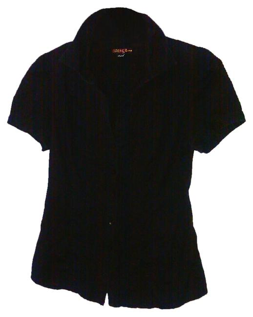 Guess By Marciano Shirt Ruffled Blouse Puff Sleeve Short Sleeve Blouse Short Sleeve Jeans Fitted Blouse Fitted Button Down Shirt Black