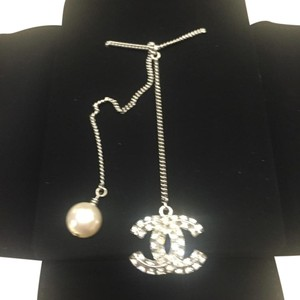 Chanel Chanel CC Crystal & Pearl Drop Pendant Necklace