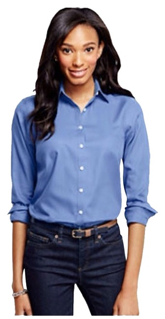 Preload https://item2.tradesy.com/images/lands-end-true-blue-herringbone-blouse-button-down-top-size-6-s-1940036-0-2.jpg?width=400&height=650