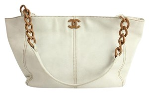 Chanel Wooden Chain Caviar Tote Shoulder Bag
