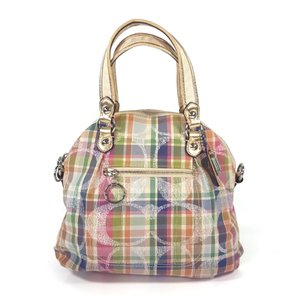 Coach Plaid Sequin Poppy Daisy Madras Satchel in Multicolor
