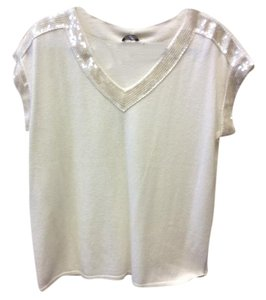 Magaschoni Sequins Cashmere Luxurious Bordered Top Off-White