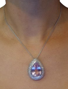 Other Women's Pendant Necklace with Kunzite and Diamond in 18K White Gold