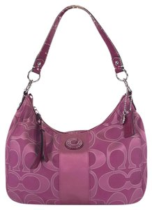 Coach Signature Sateen Jacquard Satchel in Pink