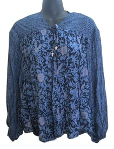 Free People Open Front Floral Boho Flowy Top Blue