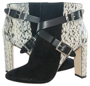 Jimmy Choo Black suede with black and white snake skin Boots