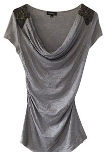 bebe Top Grey with gun metal beading
