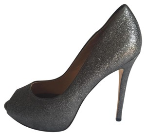 Badgley Mischka Metallic Leather Stiletto Peep Toe Metallic Grey Pumps