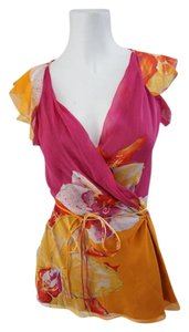 Diane von Furstenberg Dvf Silk Top Pink & Orange