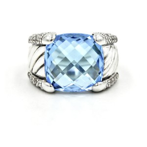 David Yurman David Yurman Blue Topaz & Diamonds Sculpted Cable Ring Size 6