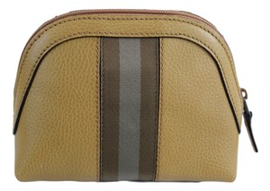 Gucci Gucci Women's 339558 Tan Leather Web Stripe Mini Dome Cosmetic Bag