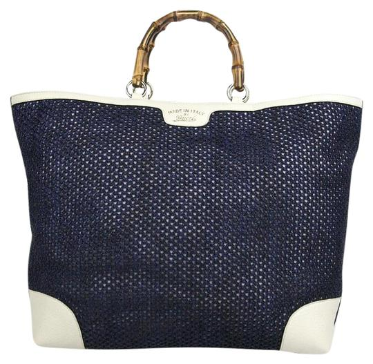 02c6ab69b50e gucci new top handle bamboo large 338964 4271 blue straw leather tote 33%  off retail. TRADESY