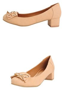 C Label Vintage Fringe Bow Modcloth nude Pumps