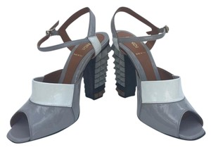 Fendi Polifonia Patent Leather Spiked Heel Mod Grey and White Sandals