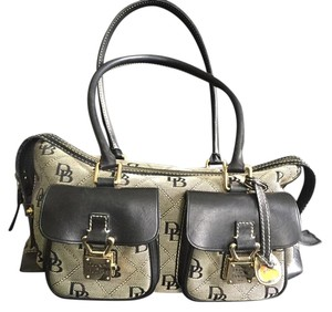 Dooney & Bourke Monogram Leather Trim Satchel in Dark Gray & Black