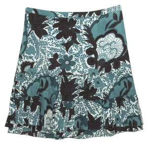 Ann Taylor Ruffle Tiered Floral Skirt Multi-color
