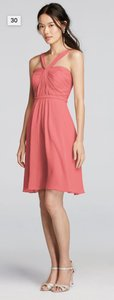 David's Bridal Coral Reef Y-neck Ruched Bodice Crinkle Chiffon Short Dress Dress