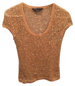 BCBGMAXAZRIA Mesh Sequin Date Night Top Gold