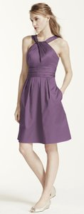 David's Bridal Wisteria Short Cotton Dress With Y-neck And Skirt Pleating Dress