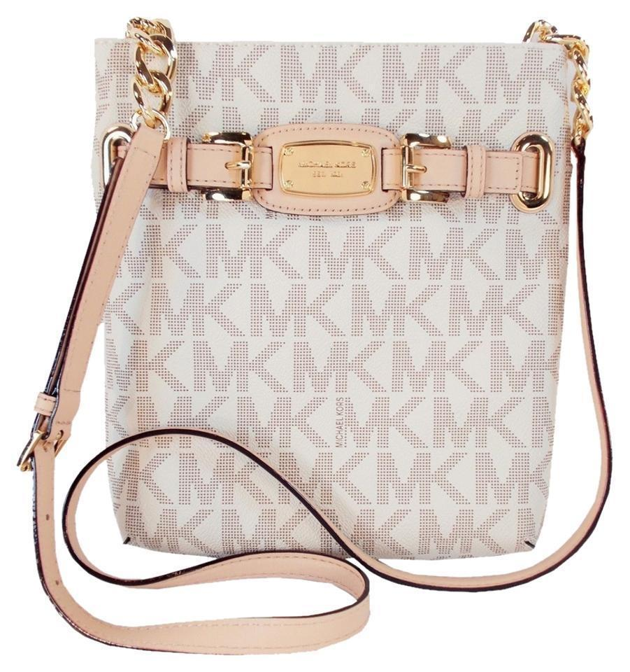 85ae49103a Michael Kors Sig Logo Large Hamilton Tablet Vanilla White Cross Body ...