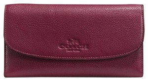 Coach F52715 New COACH PEBBLE LEATHER CHECKBOOK WALLET Burgundy Color