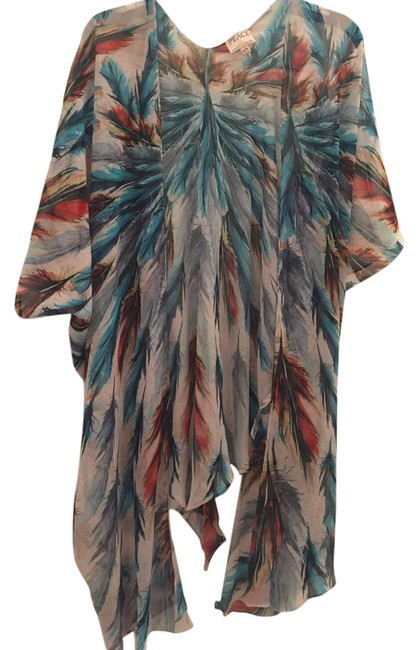 Item - Multicolor Feather Fan Tie Top Cover-up/Sarong Size 0 (XS)