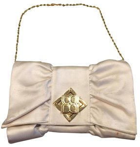 BCBGMAXAZRIA Ivory And Gold Clutch