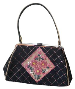 Isabella Fiore Blk/Tan Vintage Sequin Tote in Brown, Taupe and multi-color, black leather base