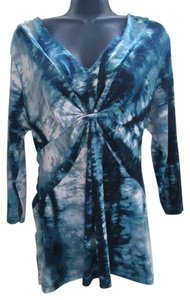 Daisy Fuentes Tie Dye Abstract Formal Fall Autumn Top Teal