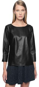 Ella Moss Faux Leather Top black