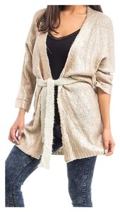 Other Fuzzy Belted Open Sweaters Metallic Cardigan