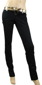 Gucci Skinny Jeans W/gold Waistband Black Leggings