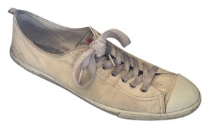 Prada Mens Low Top Sneakers Cream Lambskin Flats