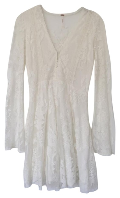 Item - White Reign Over Me Lace Mid-length Short Casual Dress Size 2 (XS)