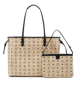 MCM Leather Tote in Beige