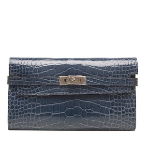 Hermès Hermes Blue Tempete Shiny Alligator Kelly Longue Wallet Clutch