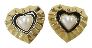 St. John NEW ST. JOHN VINTAGE HEART CLIP-ON GOLD 22K SIGNED EARRINGS PEARL