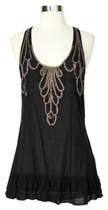 Free People Sleeveless Embroidered Embellished Tiered Ruffle Top Black