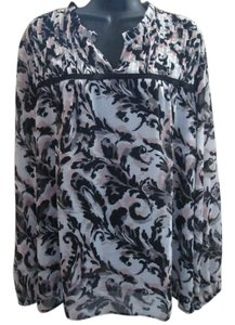 Ann Taylor LOFT Flowy Abstract Watercolor Pleated Chiffon Top Multicolored